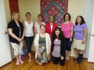 Book Club members Claudia, Mary Lou, Debbie, Nekki, Andrea, Marie, Kira & Andrea
