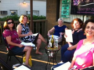 Enjoying our Book Club meeting on the front porch