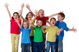 Group of happy children with hands up sign, isolated on white