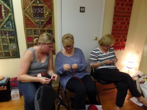 Kira, Mary and Pat crocheting