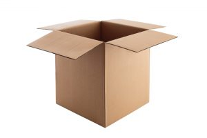 Open Cardboard box isolated on white with clipping path