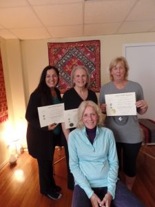 Connie (seated) with the Reiki One graduates