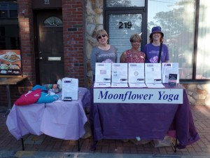 Moonflower Yoga owner Nancy with Nekki and Chris