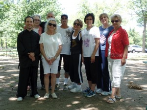 Joseph (far left) with some of the participants & Moonflower Yoga owner Nancy