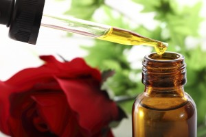 essential oils rose and bottle